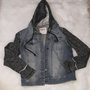 Mossimo hooded denim jacket with sweater sleeves